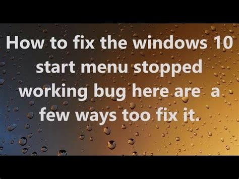 windows 10 start menu not accessible how to repair missing