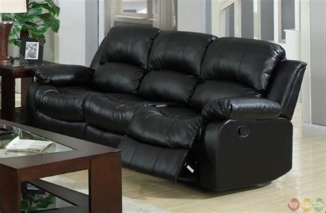 reclining sofa and loveseat kaden black bonded leather reclining sofa and loveseat set
