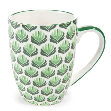 palmier green faience mug with floral motif maisons du monde