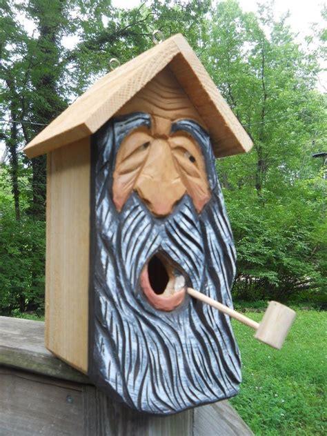 wood carvingswood spirit carvings birdhouse  nest bird