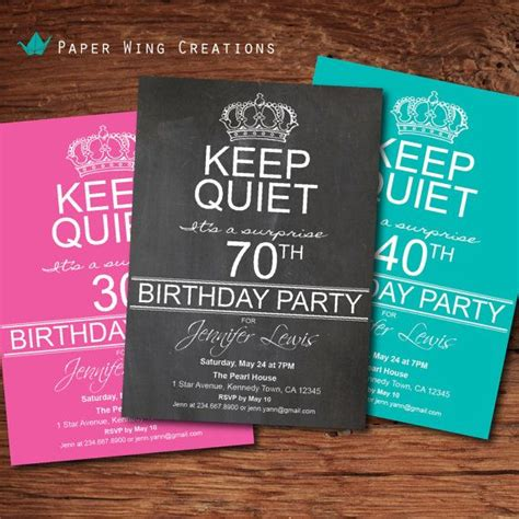 70th Surprise Birthday Party Invitations FREE PRINTABLE
