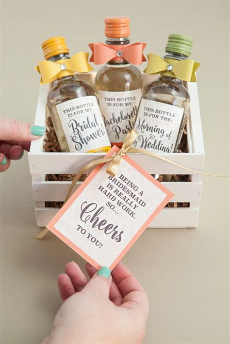 adorable diy mini wine bottle bridesmaid gift