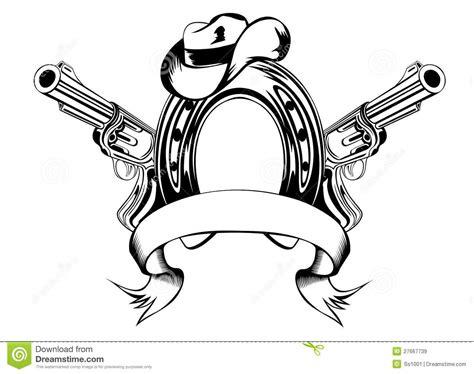 horse shoe  cowboys hat stock vector illustration