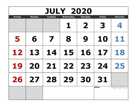 july printable calendar template excel image edition