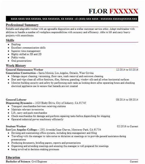 Resume For Maintenance Worker by General Maintenance Worker Objectives Resume Objective