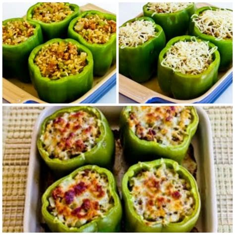 stuffed peppers with rice stuffed green peppers with brown rice italian sausage and parmesan kalyn s kitchen