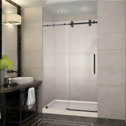 aston langham 48 in x 77 5 in completely frameless sliding shower door in rubbed bronze