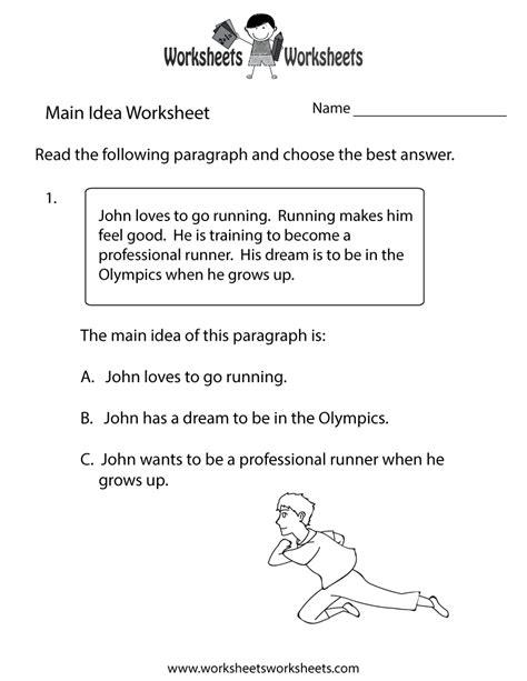 main idea practice worksheet  printable educational