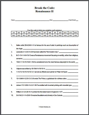 renaissance worksheet 2 free printable decipher the code puzzle social studies pinterest
