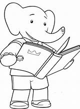 Babar Coloring Elephant Pages Triplets Characters Simple Children Template Elephants Fictional Snoopy Kunst Fantasy Popular sketch template