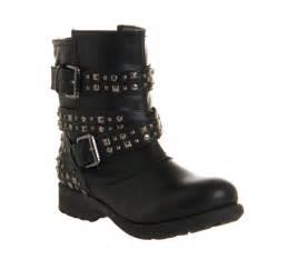 womens boots black womens office bold stud biker black boots