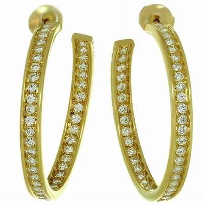 Earrings Hoop Diamond Inside Cartier Gold Yellow