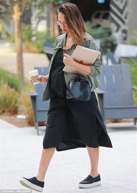 actress jessica the office pregnant jessica alba conceals bump at the office in la