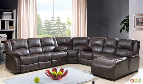 leather reclining sectional with chaise brown bonded leather reclining sectional w chaise