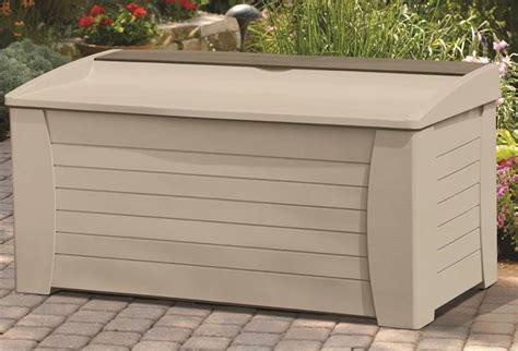 Suncast Deck Box With Seat Taupe by Suncast Db12000 Deck Box With Seat 54 1 2 In W X 28 In D X