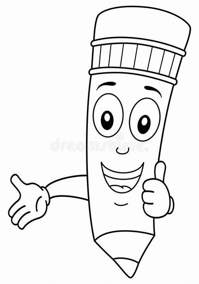 Pencil Coloring Character Cartoon Funny Background Illustration