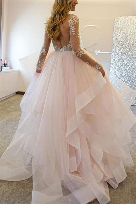 long sleeves tulle wedding dresses  appliquessexy