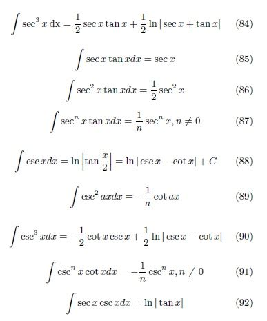 A table of integrals of the exponential integral*. #O014#ตารางการอินทิเกรต (Table of Integrals)