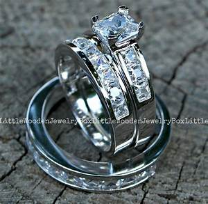 His and hers 925 sterling silver 14k white gold engagement for Wedding rings his and hers sets