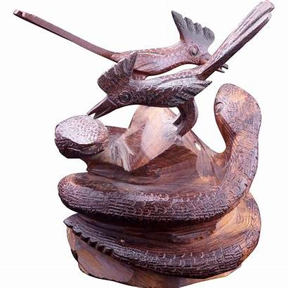 Carving Wood Folk Entwined Western Snakes
