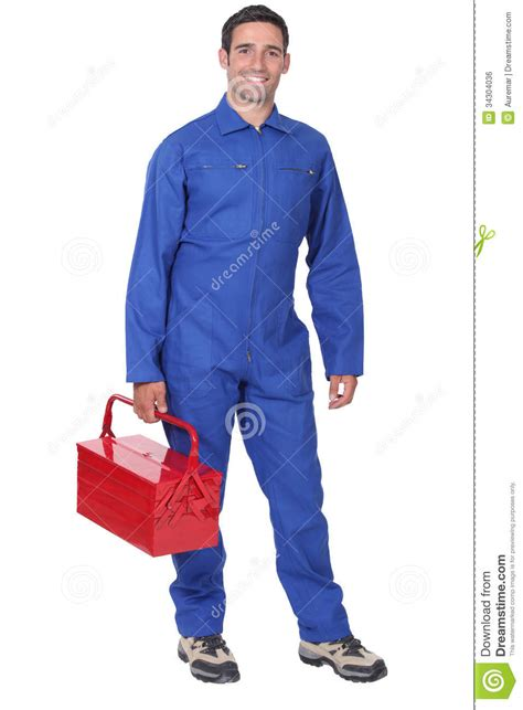 Man Wearing Blue Overalls Royalty Free Stock Image Image