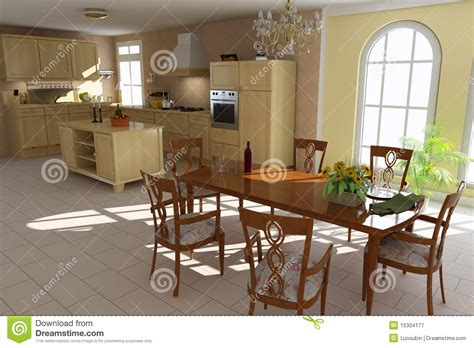 cucina e sala da pranzo sala da pranzo e cucina classiche illustrazione di stock