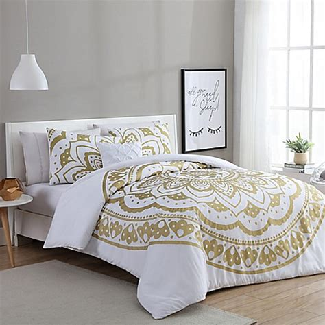 White And Gold Bed Covers by Vcny Karma Duvet Cover Set In Gold White Bed Bath Beyond