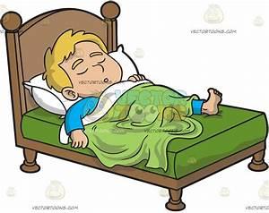 A Boy Sleeping Comfortably Vector Clip Art Cartoon