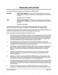 franchise application template sample form biztreecom With franchise documents templates