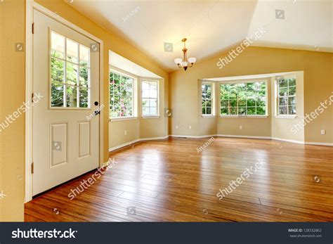 large empty newly remodeled living room stock photo