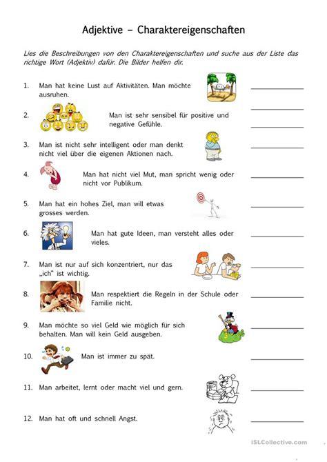 englisch für kindern kostenlos charaktereigenschaften adjektive arbeitsblatt