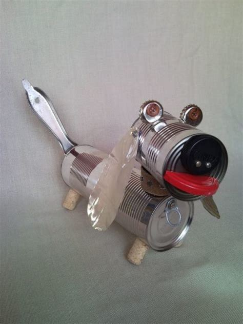 recycled dachshund puppy junk sculpture home decor 2