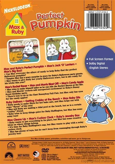 Spongebob Halloween Vhs And Dvd by Max Amp Ruby Max Amp Ruby S Perfect Pumpkin Dvd 2008 Dvd