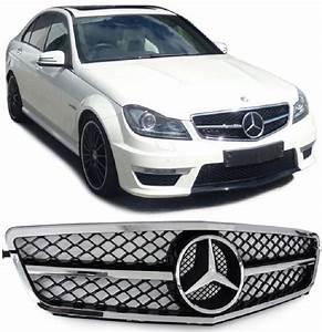 Mercedes Classe C Noir : calandre mercedes classe c w204 noir brillant chrome look c63 amg sl design vendue avec logo ~ Dallasstarsshop.com Idées de Décoration