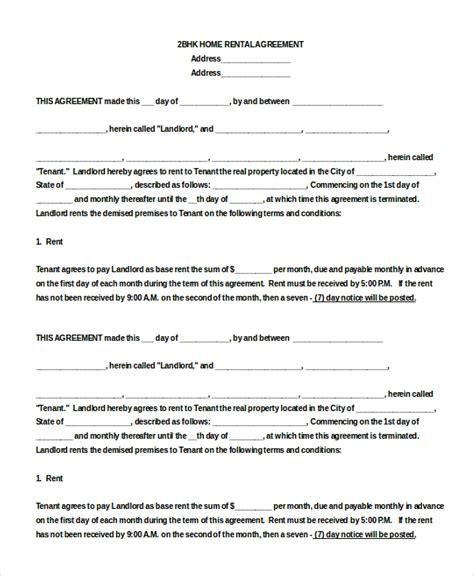 blank rental agreement templates  sample
