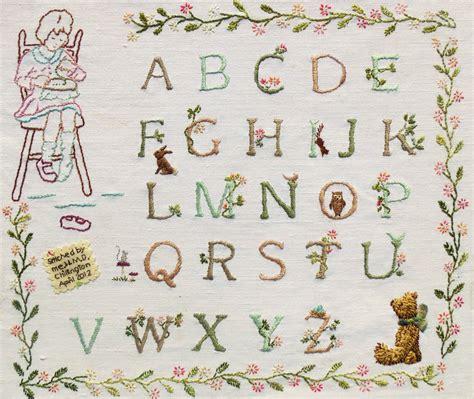 stitches rosie bear alphabet sampler hand embroidery