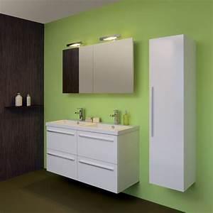 meuble salle bain laque blanc With porte de douche coulissante avec ensemble vasque meuble salle de bain pas cher