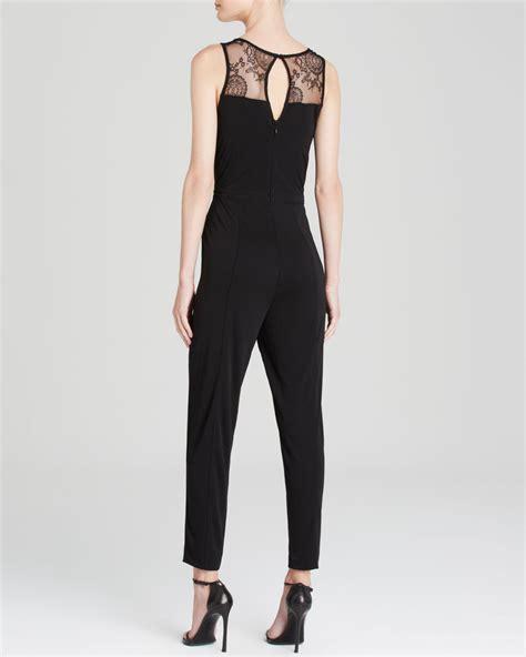 connection jumpsuit connection jumpsuit liza crepe in black lyst