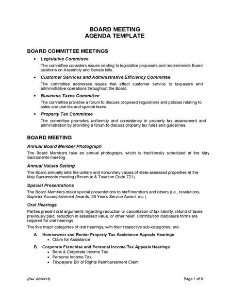 board meeting agenda template   templates