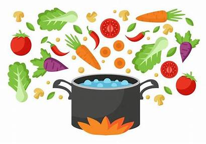 Soup Clipart Boiling Vegetable Water Pan Vector