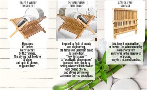 amazoncom bellemain folding bamboo dish drying rack