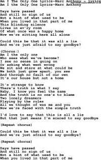 Love Song Lyrics for: Am I The Only One Lyrics-Marc Anthony