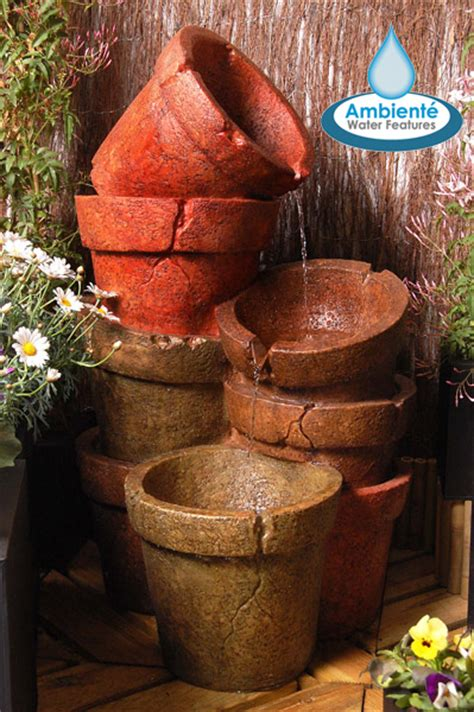 H82cm Stacked Plant Pot Cascading Water Feature with