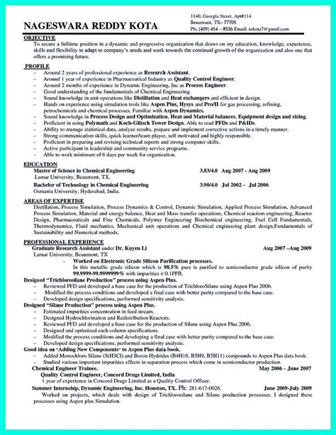 Chemical Engineering Resume by Awesome Successful Objectives In Chemical Engineering