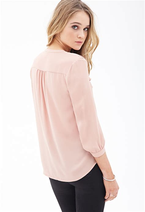 pink chiffon blouse forever 21 ruffled chiffon blouse in pink lyst
