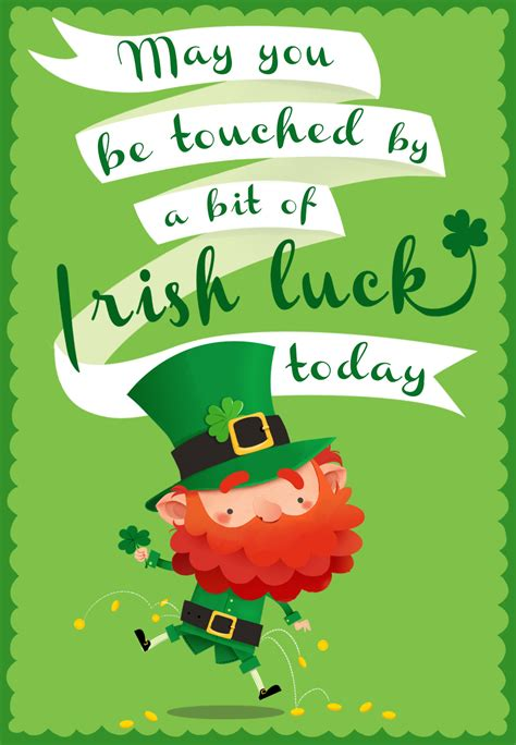 touched   bit  irish luck st patricks day card