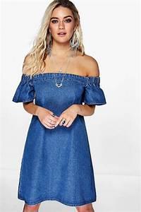 Maisie Off The Shoulder Denim Dress at boohoo.com