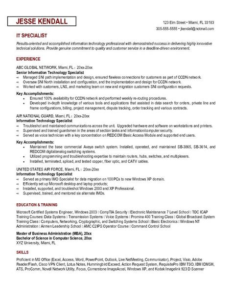 exle information technology specialist resume sle