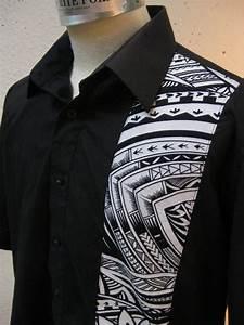 Aloha Shirt Black With Samoan Tattoo Print Samoan Tattoo