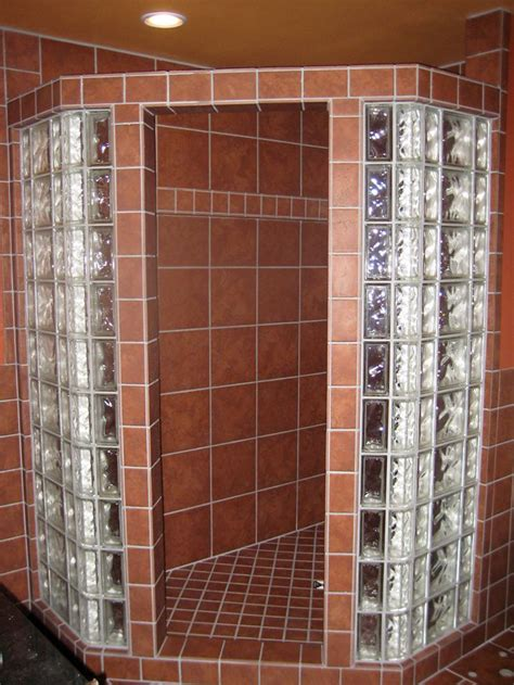 glass block shower tile showers